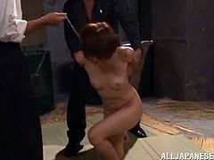 Masturbate as you watch this short haired babe, with small boobs and a nice butt, while she gets mistreated by disgusting fellows.