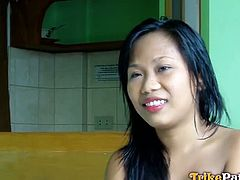 Jo Ann is an Asian newbie. She begins with an interview and then she plays with cock. This is just a teaser of her pussy-screwing session with a white dude.