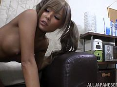 Go wild as you watch this Asian girl in pigtails, with big knockers and a nice ass, while she gets fucked hard in different positions.