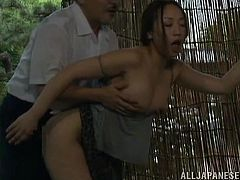 Get a hard dick by watching this Japanese lady, with a nice ass wearing a miniskirt, while she gets banged hard after talking a bath.