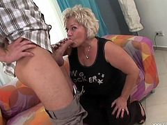 Have a blast watching this blonde granny, with giant knockers wearing high heels, while she gets fucked hard and moans like in the old days.