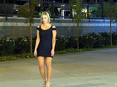 Sexy blonde Anne, wearing a minidress, is getting naughty in the street. She plays with her pussy behind the corner and kneads her amazing tits.