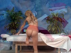 Cute Riley Jensen went to her favorite masseuse Celeste Star for something more than the usual massage. After getting her body all oiled up she received some orgasms as well.