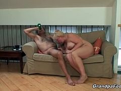 Huge titted granny loves bending over sucking his man's dick and getting fucked her old pussy roughly as ever. Watch this old couple having fun in hardcore sex.