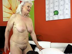 The horny granny Judi enjoys getting her big hairy pussy pounded by a hard cock after giving the guy the blowjob of his life.