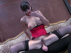 Make sure you check out this hardcore scene where this elegant brunette is eaten out and fucked by this horny guy.