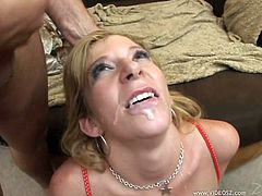 Sarah Jay is a cock thirsty blonde milf with an amazing ass and huge round tits. Check out this hardcore scene where this kinky mommy is gangbanged by fellas.