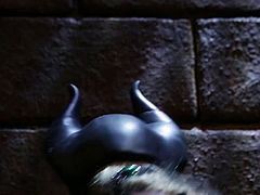 Slutty bitch Maleficent knows a lot about the art of pleasing men. She sucks her slave's dick with great enthusiasm. Then she fucks him really hard on top.