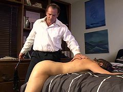 Brunette cutie Allie Haze allows a dude to tie her up to a bed. The man whips Allie's nice ass, then lets the bitch take a ride on his boner.