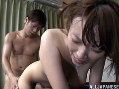 She aims to please and likes his aim as this sexy Japanese girl gets fucked by her man then takes a sticky facial as he cums.