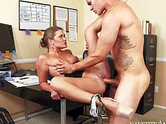 Lovely Abby Cross with well shaped perky ass and small boobs is a horny doctors secretary. She gets her neat bald pussy stuffed full of cock at the office. He cant stop fucking this sexy doll.