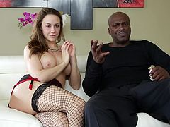 Black stud Lexington Steele is having fun with busty brown-haired bitch Chanel Preston, who is wearing fishnet stockings. The slut shows her big tits to Lexington, but he doesn't even look at her.