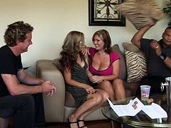 Lewd blondes Tabitha James and Claire Dames seduce two men and have fun with them in the living room. The guys fuck the bitches' mouths and cunts and enjoy the way they moan.