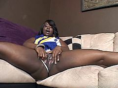 Take a look at this amazing solo scene where the busty ebony babe Hershey masturbating with a dildo as you hear her moan.