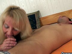 Granny Bet brings you a hell of a free porn video where you can see how this vicious blonde mature rides a young stud's hard cock into a massively intense orgasm.