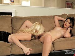 Sexy ladies have amazing lesbian sex on a couch