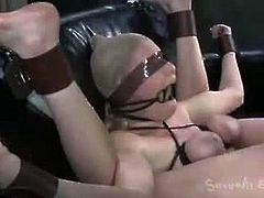 Sexually Broken brings you a hell of a free porn video where you can see how the hot brunette Allie James gets bound and banged very hard into a massive orgasm.