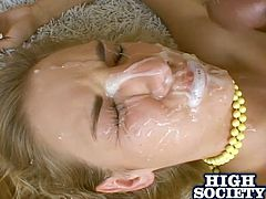 Brianna takes on all comers. After all the guys have a turn fucking one of her holes she takes all of their cum on her face.