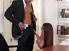 Well endowed lady Brooklyn Chase has a crush on Ryan and cant wait no longer to give his hard dick a try. She pulls out her massive irresistible boobs before she takes his hard dick in her eager mouth.