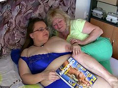 Take a look at this lesbian scene where these horny grannies make you pop a boner as they play with one another.
