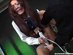 Oriental college girl given screaming orgasms with toy. She is so fucking hot in her uniform and starts using her favorite hitachi magic want for some deep orgasms.