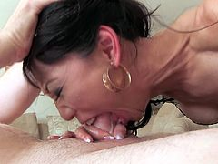 Have a good time watching this Asian cougar, with big fake tits wearing sexy lingerie, while she gets assfucked hard and moans like a whore.