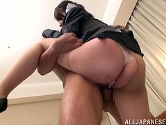 This horny Japanese office girl enjoys two hard cocks in this amazingly sexy MMF threesome with two horny dudes that absolutely ram her pussy.