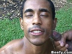 See how this big muscled gay puts cum on the face of his gay lover. Watch how this big muscled gay gives his huge muscled gay partner the best blowjob to make him hard, in preparation for his tight ass to be fucked. Watch as he licks and sucks his huge muscled partner. Hear him moan to attain his much love desire. Watch how he rides his gay partner and gives him the best anal penetration to make him scream and want for more. See how he gives in as he pushes his huge dick on his tight ass while on the garden.