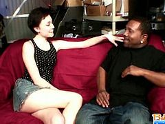 After making the baby sleep, horny babysitter Zoe Voss tease the baby's black daddy that soon make his pants tighten with a boner. Stripping naked, she drag out the guy's black cock and take it in her mouth for a blowjob.