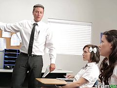 These girls are caught by their teacher and the only way to get out of trouble, is fulfill his fantasy, which is fucking them! He opens their blouses and fondles their small, firm breasts. He has one lick the other's pussy and the other's about to get his cock out, for some stiff punishment!