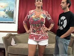 The horny brunette MILF Carmella Bing enjoys getting her yummy ass rammed while she sucks on a big hard cock in this hot threesome.