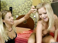 Blonde wench Sunny Diamond and Nikky Thorne have a great time fingering each others wet spot
