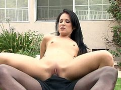 Bodacious raven-haired wench provides cocky stud with terrific blowjob and rides his BBC in a reverse cowgirl pose. Then she lies on her body side letting man drill her asshole from behind.