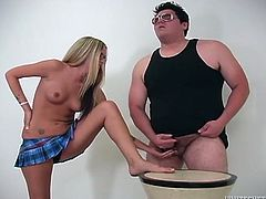 Plump awkward freak with tiny cock fucks with light haired seductive whore in glasses. This hottie is gonna give that stud nice foot job. Look at that tiny penis in Fame Digital porn clip!