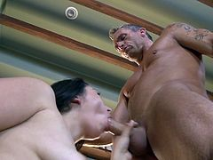 Stephanie Adams is getting naughty with Marcus London indoors. Marcus licks the brunette's pussy, then drills it from behind and cums in Stephanie's mouth in the end.