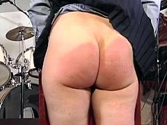 Two nerdy chubby skanks strip and show their massive asses to a man. Then they bend over and enjoy some brutal spanking.