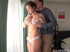 This sexy Japanese babe gets her yummy dripping pussy fingered while she wears the cutest white panties and ends up riding a hard cock.