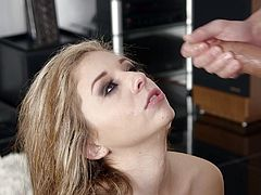 Madelyn Monroe sucks on a big cock before being fucked