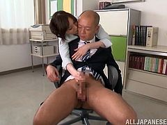 Get excited by watching this Japanese doll, with a nice butt wearing her job uniform, while she goes hardcore with a kinky fellow.
