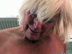 Blonde grandma Sabine is a fan of masturbating even on her older age. She is one of a kind naughty old woman who loves to get alone just to play her pussy all day.
