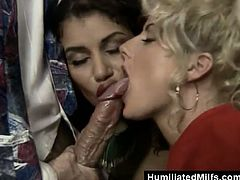 Curvy cougar in high heels gives a blowjob then bends over for a doggy style fuck as she spanks her hot ass then gets her anal ravished in a threesome