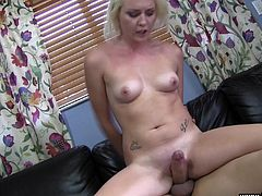 Horny blonde chick sucks and rubs a guy's dick indoors. Then the dude drills the bitch's twat in the missionary pose and chokes her.