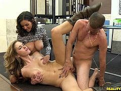 Have fun busting a serious nut thanks to this hardcore scene where these sexy ladies are fucked by a big cock in a hot threesome.