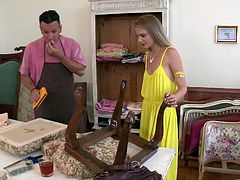 Cayenne Klein seduces a repairman and fucks him on the table