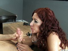 Long-haired redhead milf Tiffany Mynx is playing dirty games with James Deen in amazing reality clip. Tiffany gives a blowjob to James and lets him drill her ass doggy style.