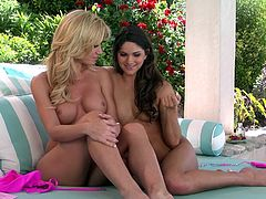 Red hot Aspen Rae and Angela Sommers strip off their bikinis and play while they relax outdoors and answer some fan letters.