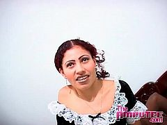 Slut in French maid outfit sucks a black cock