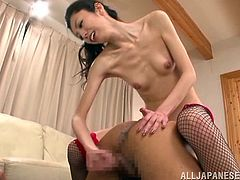 Masturbate as you watch this Asian brunette, with a nice ass earwig fishnet stockings, while she gets pounded hard and shares a foot fetish.