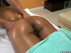 Ebony babe needs a massage but things start to take an erotic twist. She is so relaxed and excited that his strong hands on her body drives her crazy. The masseuse makes her horny by touching her sexy round ass and right down to her pussy. Temptation is so big that she ends up sucking him.