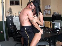 Lustful brunette Larissa Dee gets brutally fucked from behind